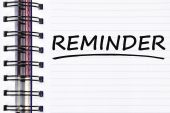 Reminder words on spring note book — Stock Photo