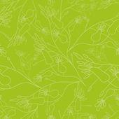 Nahtlose Muster gezeigt linear Blumen auf grünem Hintergrund — Stockvektor