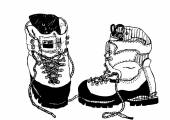 Hobnailed boots black and white — Stock Vector