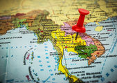 Thailand marked on the map button — Stock Photo