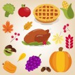 Set of colorful cartoon icons for thanksgiving day. Flat style. — Stock Vector #80331374