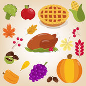 Set of colorful cartoon icons for thanksgiving day. Flat style. — Stock Vector
