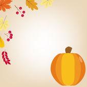 Přání s podzimním listím a dýně. Šťastné díkůvzdání ilustrace. Halloween ilustrace. Ploché styl. — Stock vektor
