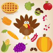 Set with turkey, autumn leaves, pumpkin, carrot, acorns, chestnuts, berries in cartoon style. Funny character Thanksgiving. Happy Thanksgiving funny illustration. Flat style. — Stock Vector