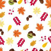 Autumn seamless pattern: leaves, acorns, berries and chestnuts on a white background. — Stock Vector