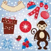 A set for Christmas greeting cards and other. Stars, circles, squares for the background. Monkey, gift, Christmas ball, birdie, apple, holly, hat, gloves, scarf. — Stock Vector