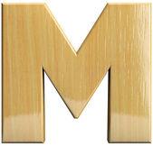 Lettera in legno m — Foto Stock