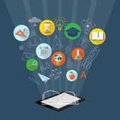 Banner for on line education, e-book — Stock Vector