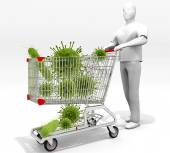 Shopping Cart Full Of Germs — Zdjęcie stockowe