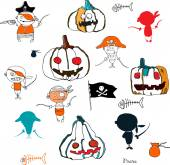 Vector little funny pirates and halloween pampkins on white background with silhouettes for holidays design — Stock Vector