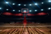 Basketball court. Sport arena. 3d render background. unfocus in long shot distance — Stock Photo