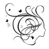 Silhuetten av en flicka i profil. Logotyp för skönhetssalonger. — Stockvektor