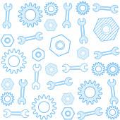 Vektör dişli ve anahtarı ile seamless modeli. — Stok Vektör