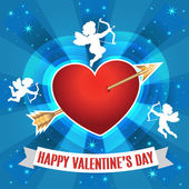 Heart with arrow and silhouette of a cupids for Valentines day. — Stock Vector