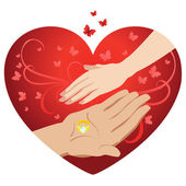 Male and female hand on a background of hearts. Vector — Stock Vector