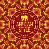 Africain modèle sans couture avec ornement et le texte sur le cercle blanc. — Vecteur