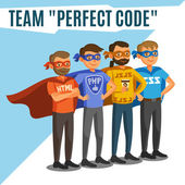 Programmatori, sviluppatori, processo di codifica, lavoro di squadra. — Vettoriale Stock