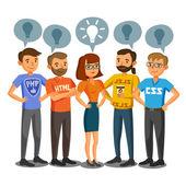 Programmatori, sviluppatori, processo di codifica, lavoro di squadra. Comunicazione — Vettoriale Stock