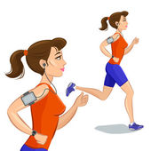 Young jogging woman, loss weight cardio training — Stock Vector