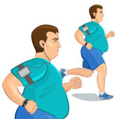 Jogging fat man, loss weight cardio training with smart device. — Stock Vector