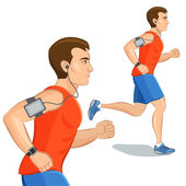 Jogging sporty man, cardio training with smart device — Stock Vector