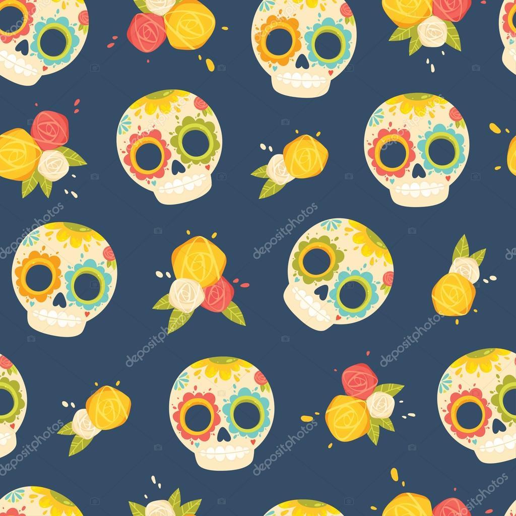 Día del patrón muerto colorido vector. Fondo transparente