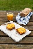 Picnic with self-baked wholemeal-wheat-spelt-bread and carrot sp — Stock Photo