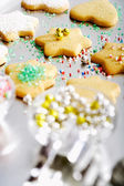 Chrismas cookies decorated with hundreds and thousands — Stock Photo
