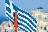 Greece, Santorini, grexit, arrow, flag — Stock Photo