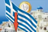 Greece, Santorini, grexit, Euro coin, flag — Stock Photo