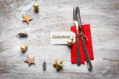 Christmas still life, cutlery and decoration on wood — Stock Photo