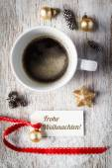 Weihnachten-Stillleben, Tasse Kaffee, tag — Stockfoto