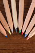 Coloured pencils on wood — Stock Photo