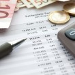 Euro notes and accounting document close up — Stock Photo #82833808