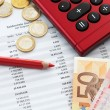 Euro notes and accounting document close up — Stock Photo #82833820