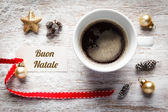 Christmas time, festive still life, cup of coffee, italian, sign — Stock Photo