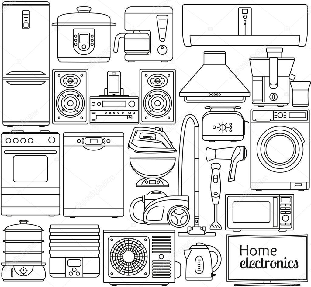 satz von zeile symbole haushaltsger te backofen und toaster k hlschrank und gefrierschrank. Black Bedroom Furniture Sets. Home Design Ideas