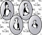Vector restroom icons: penguins as lady, man, child and disability — Stock Vector