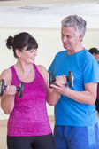 Man and woman using weights together — Stock Photo