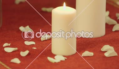 Candle on the black background — Stock Video