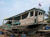 Wooden boat at dockyard — Photo