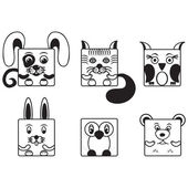 Black and white set square animals — Stock Vector
