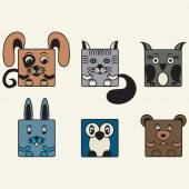 Painted, color set square animals — Stock Vector