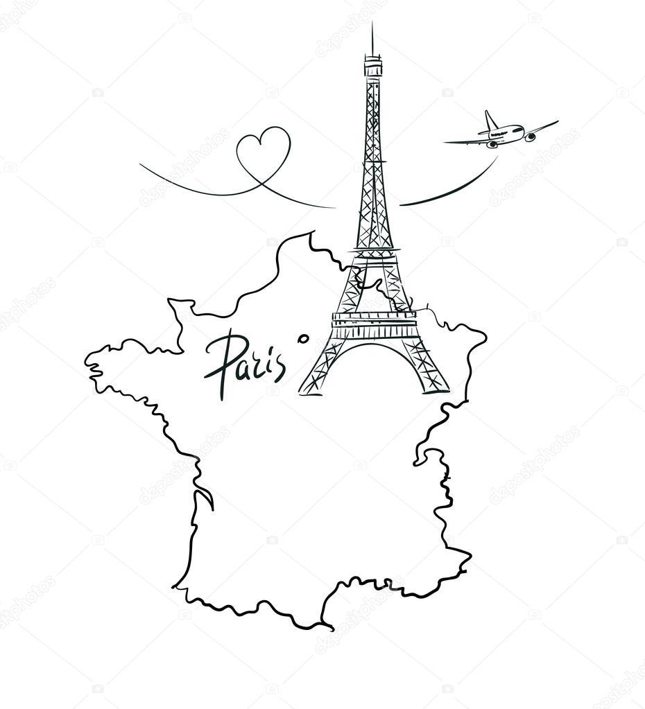 埃菲尔铁塔的法国地图