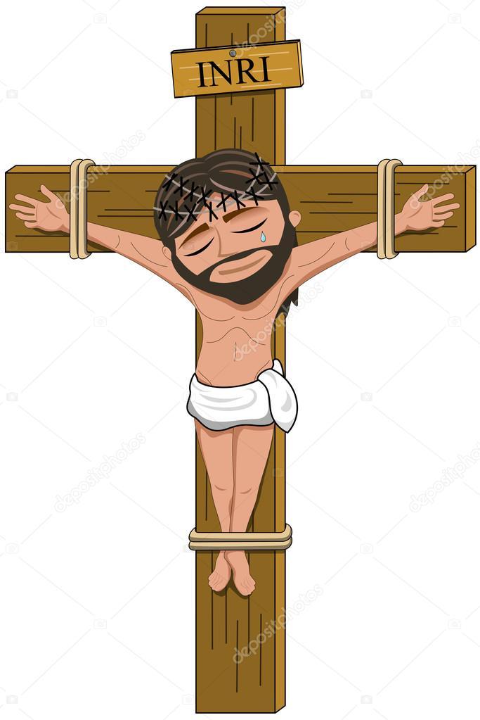 Sofferenza del crocifisso di gesù sulla croce isolata