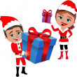 Man and woman in santa claus costume holding gift box isolated — Stock Vector #80139190
