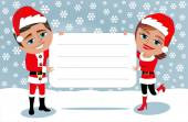 Couple in Santa Claus costume holding white blank card in the snow — Stock Vector