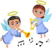 Christmas Angels Playing Trumpet and Harp isolated — Stock Vector