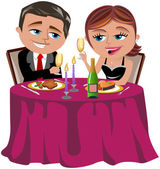 Man and Woman having  a romantic dinner isolated — Stock Vector