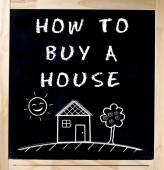 How to buy a house on blackboard isolated — Stock Photo